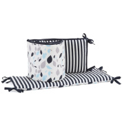 Navy Leaves and Stripes 100% Cotton Baby Crib Bumper by Balboa Baby