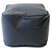 Single Piece Bright Black Home Decor Leather Ottoman, Modern Contemporary Style, 110kg Weight Capacity, Double Stitched, Ideal For Foot Rest And Extra Seat