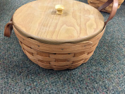 Longaberger Round Buffet Basket with Leather Handles