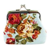 Mikey Store Women Lady Retro Vintage Flower Small Wallet Hasp Purse Clutch Bag
