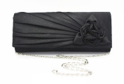 POPLife Colourful Satin Rose Flower Clutch Bag Evening Shoulder Bag Wedding Prom Handbag