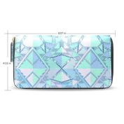 Womens Geometric Motif African Pattern Long Wallet Case with Card Holder