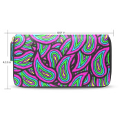 Womens Neon Paisley Pattern Long Wallet Case with Card Holder