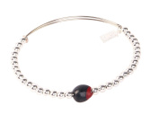 Bangle Bracelet for Women Made with Red & Black Natural Huayruro 8mm & Silver Beads By Evelyn Brooks