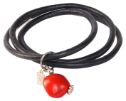 Black Leather Bracelet for Women Made with Red Natural Huayruro 12mm Charm By Evelyn Brooks