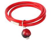 Red Leather Bracelet for Women Made with Red & Black Natural Huayruro 12mm Charm By Evelyn Brooks