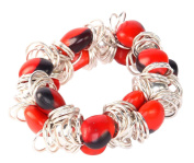 Stretch Bracelet for Women Made with Red & Black Natural Huayruro Seed 12mm Beads By Evelyn Brooks