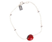 Chain Bracelet for Women Made with Red & Black Natural Huayruro 8mm & Silver Beads By Evelyn Brooks