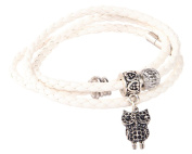 White Braided Bracelet for Women Made with Red Huayruro 4mm Seed & Owl Charm By Evelyn Brooks