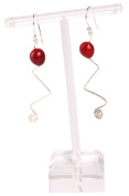 Long Dangle Earrings For Women Made With Red Natural Huayruro Seed 8mm Beads by Evelyn Brooks