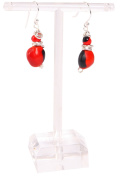 Dangle Earrings For Women Made With Red & Black Natural Huayruro Seed 4mm 12mm Beads by Evelyn Brooks