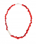 Strand Beaded Necklace for Women with Red Natural Huayruro Seed 8mm Beads by Evelyn Brooks
