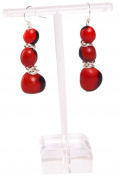 Dangle Earrings For Women Made With Red & Black Huayruro Seed 8mm 12mm Beads 3 Tier by Evelyn Brooks