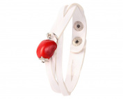 White Leather Bracelet for Women Made with Red Natural Huayruro 12mm Charm By Evelyn Brooks