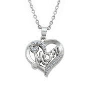 Open Heart Crystal Mom Love Pendant Necklace