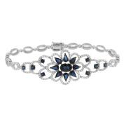 Women's 14k White Gold Diamond and Sapphire Bracelet