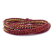 .925 Sterling Silver Crystal/Red Quartz/ Red Sand Stone & Leather Multi-wrap Bracelet