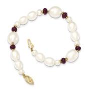 18cm Length Bracelet 14K Yellow Gold Fresh Water Cultured Pearl and Faceted Garnet Bead Bracelet