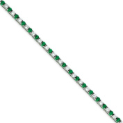 .925 Sterling Silver Green and White CZ Bracelet 18cm
