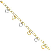 14k Two 2 Tone White and Yellow Gold Polished Heart Dangle Bracelet with Lobster Claw Clasp - 19cm