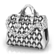 Designer Stud Quilted Tote Purse Bead Charm 925 Sterling SilverFits Compatible Bracelets
