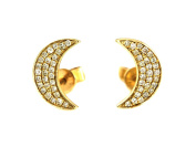 0.18ct Round Pavé Diamond in 14K Gold Mini Crescent Moon Stud Earrings