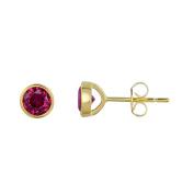 Sterling Silver Bezel Set Created Ruby Stud Earrings - 6 mm