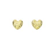 14K Yellow Gold Puff Heart Post Earrings - 8 x 8 mm