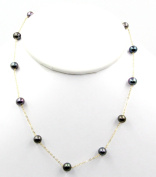 """Freshwater 5 mm Black Pearl Tin Cup 16"""" Necklace 14k Yellow Gold Chain"""