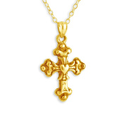 14K Gold Plated over Sterling silver Handcrafted Apostles Cross w/ Heart Necklace