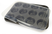 Ecolution 12 Cup Muffin/Cupcake Baking Pan with Lid, Grey