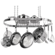 Extra-Strong Stainless Steel Oval Hanging Pot Rack, Silver