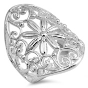 VE-01253 Sterling Silver Heart and Flower Design Band Ring