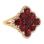 Women's 14k Rose Gold Diamond and Ruby Cocktail Ring