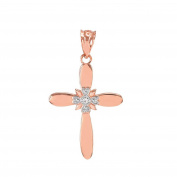 Fine 14k Rose Gold Solitaire Diamond Flower Cross Charm Pendant