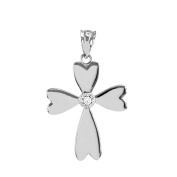 14k White Gold Solitaire Diamond Heart Cross Charm Pendant