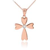 14k White Gold Solitaire Diamond Heart Cross Pendant Necklace