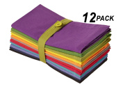 Cotton Craft - 12 Pack Preston Multi Stripe Dinner Napkins 20x20 - 100% Cotton Twill Fabric - Expertly Tailored - 38% larger than standard size napkins