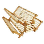 48cm All Natural Eco-Friendly Bamboo Dish Rack and Utensils Basket