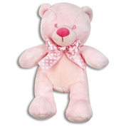 Comfy Teddy Bear with Polka Dot Ribbon in Pink