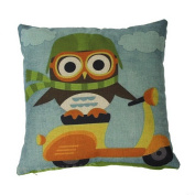 18*18 Cycling Owl Print Pattern Child's Throw Pillowcase