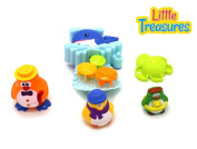 Floating Fun Bath Toy Set from Verzabo Includes a 3 Penguin Families and Splash Time Waterfall Whale Toy with Water Scoop