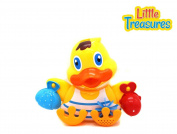 Waterfall Bath time Duck Toy Set From Verzabo With Floating Fish Friend and Water Pail To Use To Fill Up the Duck
