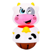 2 Pcs 3D Colourful Cow Cartoon Baby Toys Plastic Hand Bell Infant Rattles