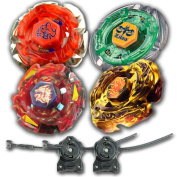Beyblade Combo 4 Pack Dark Bull + Meteo L-Drago Rush Red + L-Drago Gold Destructor + Flame Libra Metal Fusion 4D with 2x LL2 Launcher and Rip Cord // SHIPPED AND SOLD FROM US