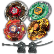 Beyblade Combo 4 Pack Dark Wolf + Meteo L-Drago Rush Red + L-Drago Gold Destructor + Flame Libra Metal Fusion 4D with 2x LL2 Launcher and Rip Cord // SHIPPED AND SOLD FROM US