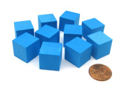 Pack of 10 16mm Blank Foam Dice Cubes with Square Corners - Blue