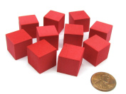 Pack of 10 16mm Blank Foam Dice Cubes with Square Corners - Red