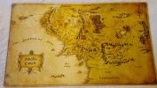 Lord of the Rings Middle Earth Map TCG playmat, gamemat 60cm wide 36cm tall Free round Mat tube Included for trading card game smooth cloth surface rubber base