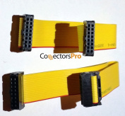 "Pc Accessories - Connectors Pro 2-Pack 8"" IDC 16P Yellow 1.27mm Flat Ribbon Cable, 8 Inches, 20cm Length with 2.54mm 16 Pins Female to Female"